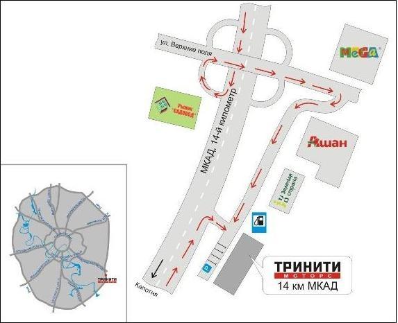 схема проезда МКАД 14 км